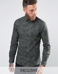 Noose And Monkey Skinny Shirt With Allover Print Khaki Green