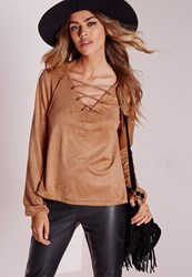 Missguided Faux Suede Lace Up Blouse Tan Brown