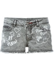 Philipp Plein 'From Hell' Denim Shorts Grey