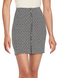 1.State Printed Zip Front Pencil Skirt Rich Black