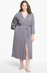 Plus Size Women's Natori 'Shangri La' Robe Heather Grey