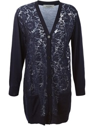 Valentino Lace Front Cardigan Blue