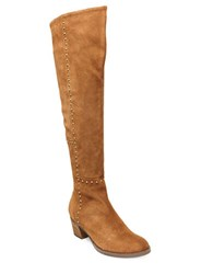 Design Lab Lord And Taylor Odel Suede Studded Over The Knee Boots Tan