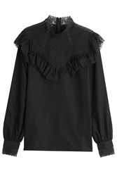 Vilshenko Cotton Blouse With Ruffles Black