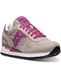 Saucony Women's Shadow Vegan Casual Sneakers From Finish Line Light Gray Fuchsia