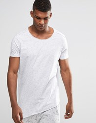Asos Longline T Shirt With Asymmetric Hem In Nepp Fabric And Raw Edge With Scoop Neck White