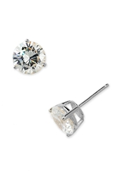 Nordstrom Boxed Round 6Ct Tw Cubic Zirconia Earrings Clear Cz Sterling Platinum