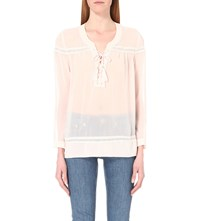 The Kooples Lace Up Chiffon Top Light Pink