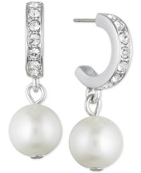 Givenchy Silver Tone Imitation Pearl And Pave Hoop Drop Earrings