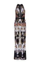 Elie Saab Sleeveless Stars Embroidered Flared Jumpsuit With Deep V Neck Metallic