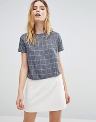 Native Youth Woven Brushed Check Crop Blouse Blue White Black