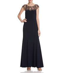 Aqua Beaded Illusion Yoke Gown Lovely Navy