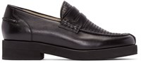 Jil Sander Black Perforated Leather Loafers