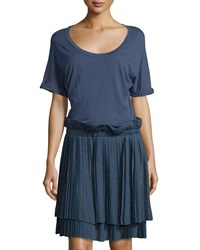 See By Chloe Pleated Skirt Short Sleeve Dress Navy