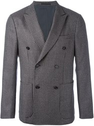 Z Zegna Double Breasted Houndstooth Jacket Grey