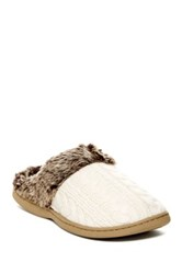 Gold Toe Faux Fur Knit Slipper Beige