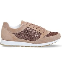 Office Party Glitter Suede Trainers Nude Suede Glitter