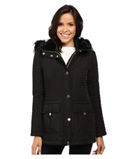 Jessica Simpson Quilted Anorak W Removable Hood And Faux Fur Black Women's Coat