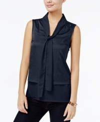 Tommy Hilfiger Tiered Bow Tie Blouse Only At Macy's Masters Navy