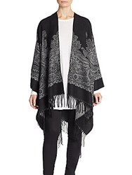 Saks Fifth Avenue Paisley Patterned Shawl Black