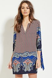 Forever 21 Contemporary Paisley Mini Dress Navy Red