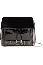 3.1 Phillip Lim Hana Patent And Snake Effect Leather Shoulder Bag Black