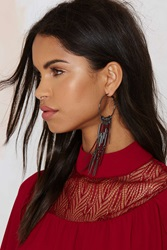 Nasty Gal Angelina Suede Hoop Earrings Burgundy