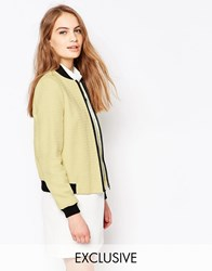 Helene Berman Yellow Metallic Tweed Bomber Jacket Yellow