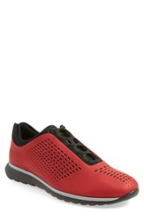 Men's Ermenegildo Zegna 'Runner' Sneaker Red Black Rubberized Leather