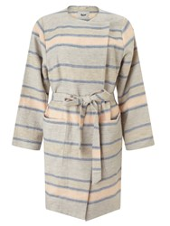 Bzr Cathy Stripe Coat Grey Blue