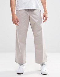 Asos Wide Leg Chinos In Light Gray Silver Cloud