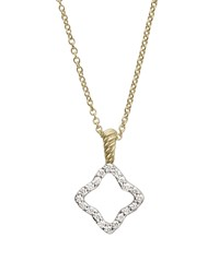 Cable Collectibles Quatrefoil Pendant With Diamonds In Gold On Chain David Yurman