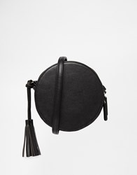 Asos Round Shoulder Bag With Tassel Black