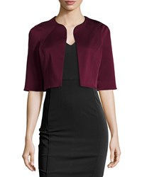 Zac Posen Drew Half Sleeve Cropped Jacket Wine Red