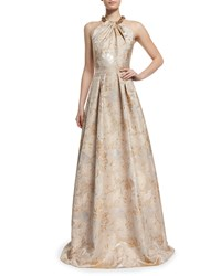Carmen Marc Valvo Beaded Halter Floral Jacquard Ball Gown Size 14 Silver Beige Champagne