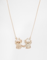 And Mary Gold Plate Necklace With Kissing Stag Charm Goldplate