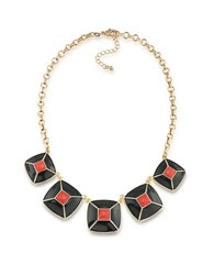 1St And Gorgeous Enamel Pyramid Pendant Statement Necklace In Scarlet Red Black Gold