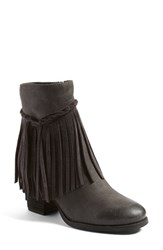 Sbicca Women's 'Geneen' Fringe Bootie Grey Faux Leather