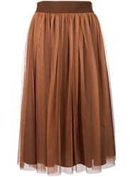 Roberto Collina Ruffled Mid Skirt Brown