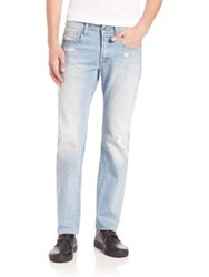 G Star Straight Leg Faded Distressed Jeans Light Age Restored