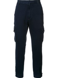 Ag Jeans Pocketed Tapered Trousers Blue