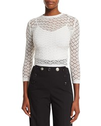 Marc Jacobs Knit Lace 3 4 Sleeve Sweater White
