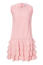 Red Valentino Crepe Dress With Tiered Ruffle Skirt