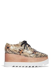 Stella Mccartney Elyse Snake Print Furry Star Platform Shoes Brown