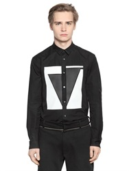 Mcq By Alexander Mcqueen Mcq Alexander Mcqueen Faux Leather Patched Cotton Poplin Shirt
