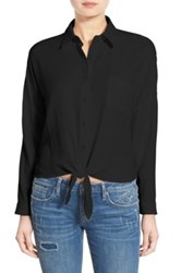 Sun And Shadow Tie Front Blouse Black