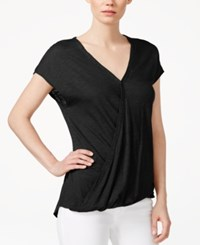 Rachel Rachel Roy Cap Sleeve Wrap T Shirt Black