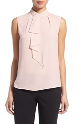 Vince Camuto Women's Ruffled Tie Neck Sleeveless Blouse Flora Pink