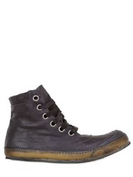 A Diciannoveventitre Washed Leather High Top Sneakers