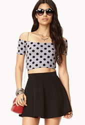 Forever 21 Sweet Polka Dot Crop Top Heather Grey Black